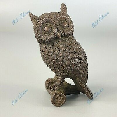 Old Collectible Chinese Pure Solid Copper Handwork Owl Antique Ornament Statue