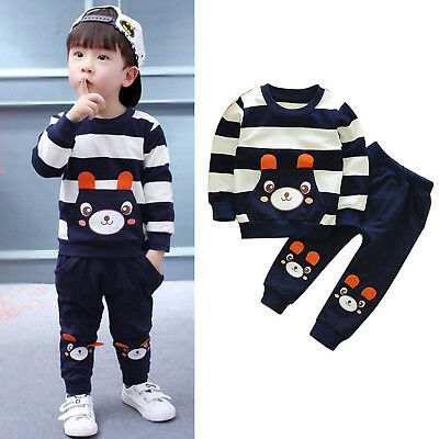 Toddler Kids Baby Boys Girls Clothes Hoodie Shirt Top Pants Suit Outfits Set AU