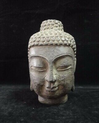 4.4kg Fine Heavy Large Old Chinese Natural Stone Hand Carving Buddha Head Statue