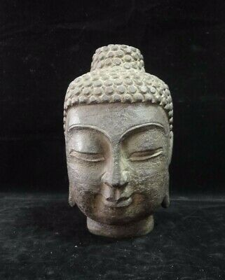 4.4kg Heavy Large Old Chinese Natural Stone Hand Carving Buddha Head Statue