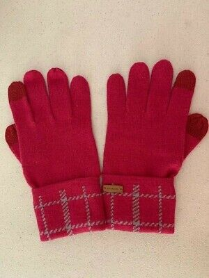 COACH Signature Logo Wool Knit TECH TOUCH GLOVES Burgundy New