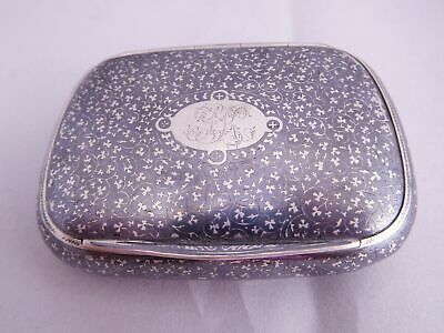Antique Russian Niello Sterling Silver Floral Flower Table Top Trinket Snuff Box