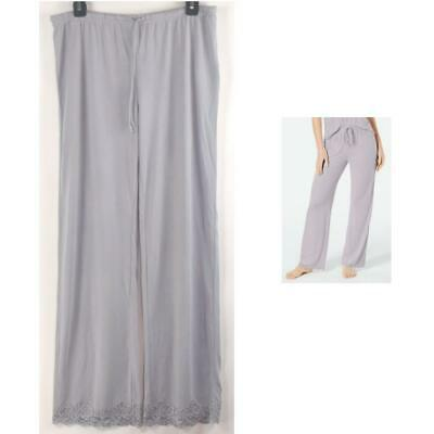 Charter Club Lace-Trim Knit Lounge Sleep Pajama Pants Steely Gray Size S New
