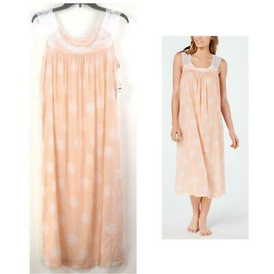 Charter Club Cotton Lace Trim Floral Print Nightgown Peach Choos Size New Pajama