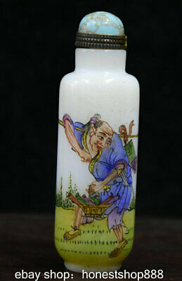 9cm Old Marked Chinese Colored Glaze Painted Old Man Sika Deer Snuff Bottle