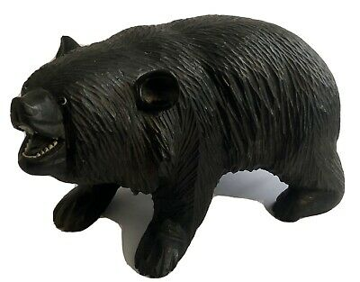 Large Vintage Black Forest Carved Wooden Bear Glass Eyes