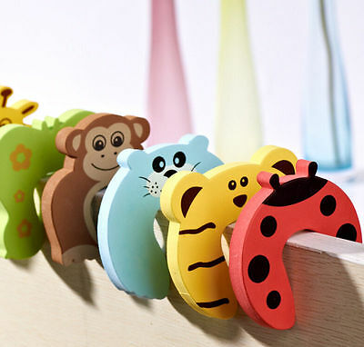 6pcs Baby Safety Door Stop Finger Pinch Guard Lock Jammer Stopper Protector BLUS