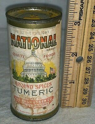 Antique National Tumeric Spice Tin Vintage Patriotic Capitol Flag Can Grocery