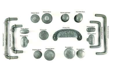 Antique Vintage Hand forged Cast Iron Pewter Cupboard Cabinet Knobs Pull Handles
