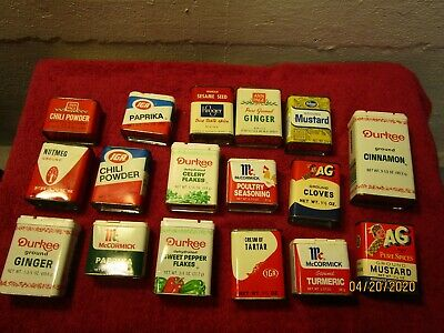 Lot of 17 Vintage Spice Cooking Tins Advertising Kroger IGA AG Ann Page Props