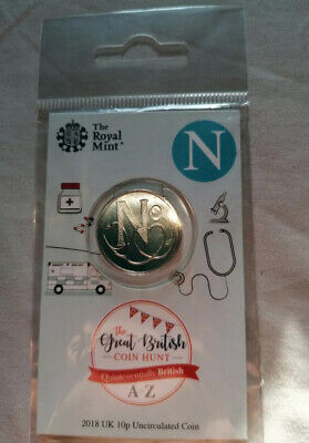 """Alphabet 10p Coin. Letter """"N"""" 2018. Carded and Sealed. Direct from Royal Mint."""