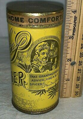 Antique A&P Sultana Spice Mills Ginger Tin Litho Can Grandma Atlantic Pacific