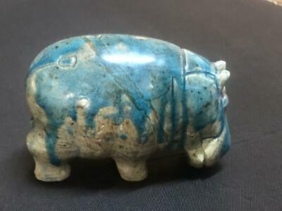 Rare ancient egyptian antique glazed blue faience statue Hippo  BC