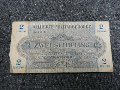Wwii Allied Occupation Of Austria 2 Schilling Paper Money Note-Scarce-1944