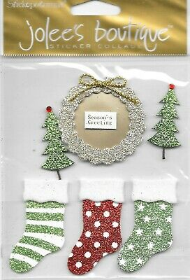 SEASONS GREETINGS Jolee/'s Boutique 3-D Stickers Stockings Wreath Merry Christmas