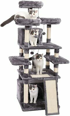PAWZ Road 67 Inch Multi-Level Cat Tree Tower for Large Cats with Cozy Perches