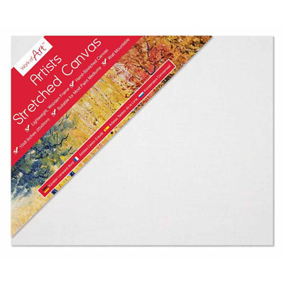 "Pack of 2 Blank Artist Stretched Canvas Art Board Framed White Primed 8"" x 10"""