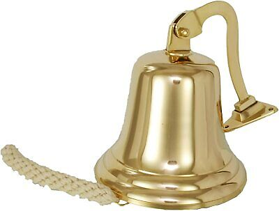 Solid 5'' Brass Ship Pub Door Bell With Heavy Mounting Bracket& Lanyard