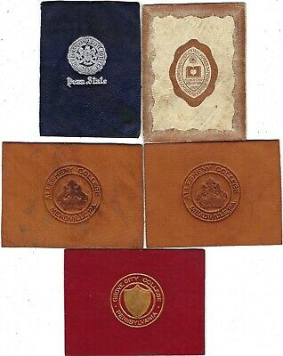 Vtg 1900s PENNSYLVANIA TOBACCO LEATHER Lot 5 PENN STATE Lehigh Allegheny College