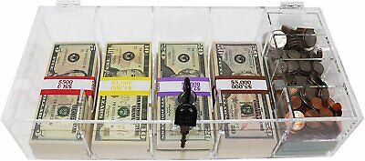 Currency Tray, Acrylic, with Locking Cover and Coin Tray Insert