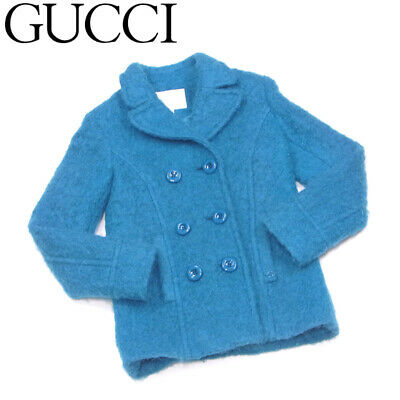 Second Hand Gucci Jacket With Double G Mark Girls Women Blue Green Wool No.60606