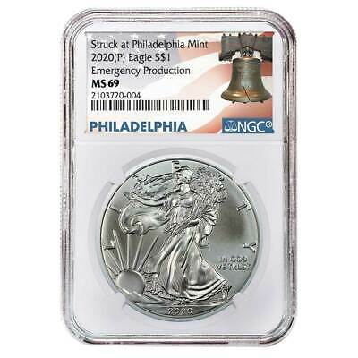 2020 (P) $1 American Silver Eagle NGC MS69 Emergency Production Liberty Bell Lab