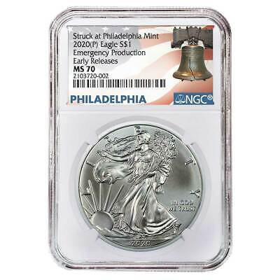 2020 (P) $1 American Silver Eagle NGC MS70 Emergency Production ER Liberty Bell