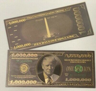 Donald Trump $1MIL BLACK AND GOLD Bank Note