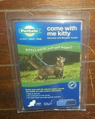 Come With Me Kitty Harness & Bungee Leash ~LARGE up 40lbs- Royal Blue/Navy~