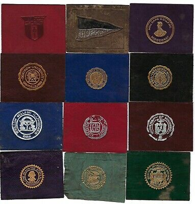 Vintage 1900s TOBACCO LEATHER Lot of 12 UNIVERSITY College STATE SEAL silk card