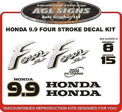 HONDA 9.9 HP Four Stroke Reproduction Decal Set  stickers 8 hp 15 hp