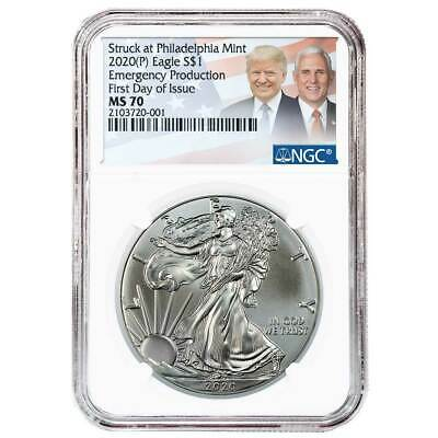 2020 (P) $1 American Silver Eagle NGC MS70 FDI Emergency Production Trump/Pence