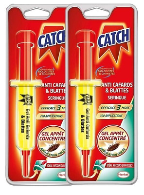 CATCH -Gel insecticide anti cafards et blattes seringue 10 Gr Lot de 2 seringues