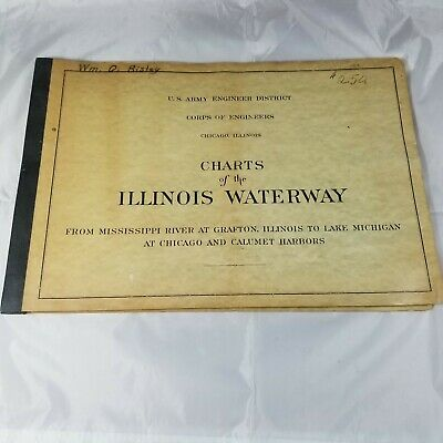 1957 Illinois Army Engineers Waterway Charts Nice