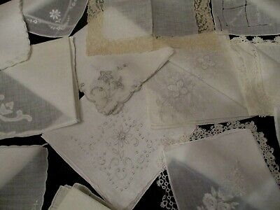 15 Vintage White/Ivory Embroidered hankies, few Madeira's, drawn work, lace.