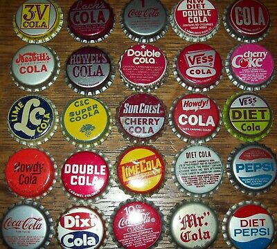 Lot of 25 diff. Vintage Cola Unused Soda Pop Bottle Caps 3-V Dixi Coca Pepsi