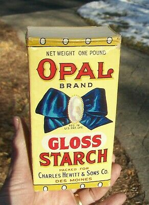 Antique Unopened Opal Gloss Starch Laundry Vintage Wash Soap Box - Des Moines Ia