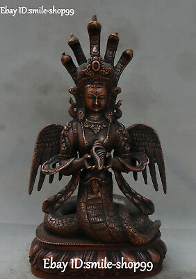 Top Chinese Copper 5-Heads Snake Naga Kanya Snake Serpent Snakes Conch Statue