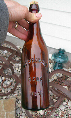 QT Blob Top old RENO NEVADA BREWING CO. 1890's beer bottle Western Brewery