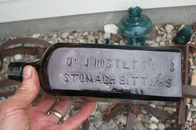 """CRUDE! Applied Top DR. J. HOSTETTER'S STOMACH BITTERS / S McKEE & CO """"3"""" base"""