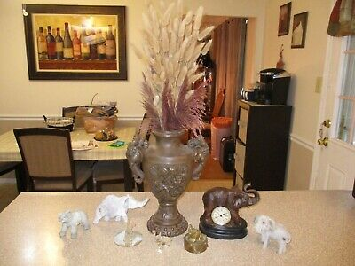 Lot of 8 Elephant Collectibles Large Vase Clock Figurines Glass & Brass Decor