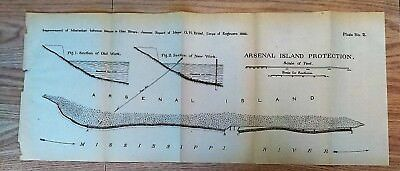 1882 Sketch Map Arsenal Island Protection Mississippi River
