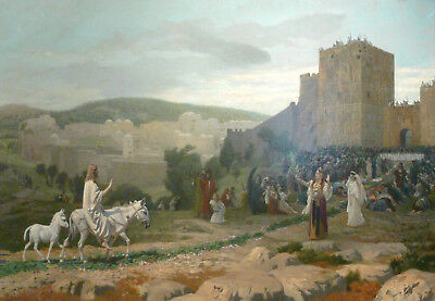 """oil painting handpainted on canvas""""Entry of the Christ in Jerusalem """"@N10412"""