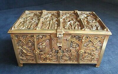 "SUPERB 6"" Heavy ~ GOTHIC Revival ~ Cast BRASS ~ CASKET ~ c1930"