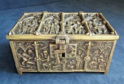 SUPERB Heavy ~ GOTHIC Styled ~ Cast BRASS ~ CASKET ~ c1900