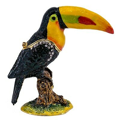 "Bejeweled Enameled Pewter Toucan Bird Trinket Box With Crystals 3.75"" High New!"