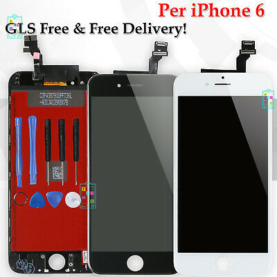 Display Per Apple Iphone 6 Lcd Vetro Schermo Touch Screen Bianco Nero Assembly
