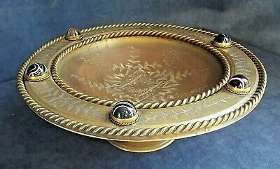 """GOOD Large 10"""" ~ GILDED ~ TAZZA with CABOCHONS ~ c1870"""