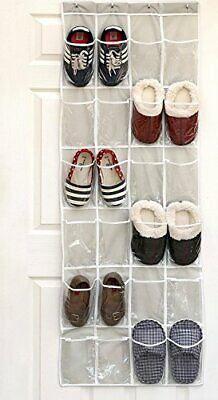 24 Pockets Crystal Clear Over The Door Hanging Shoe Organizer, Gray (64''x19'')