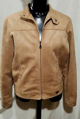 Size L REPORTER RDG mens faux suede zippered bomber jacket brown tan